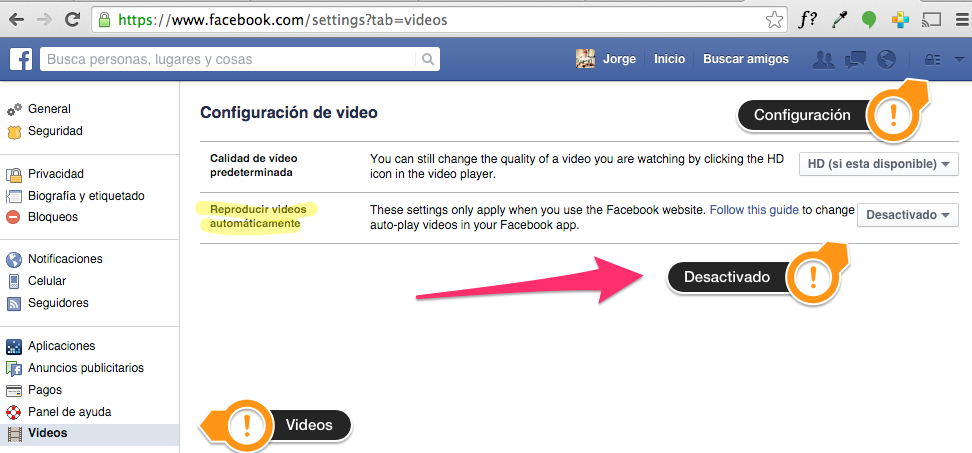 desactivarVideosFacebook