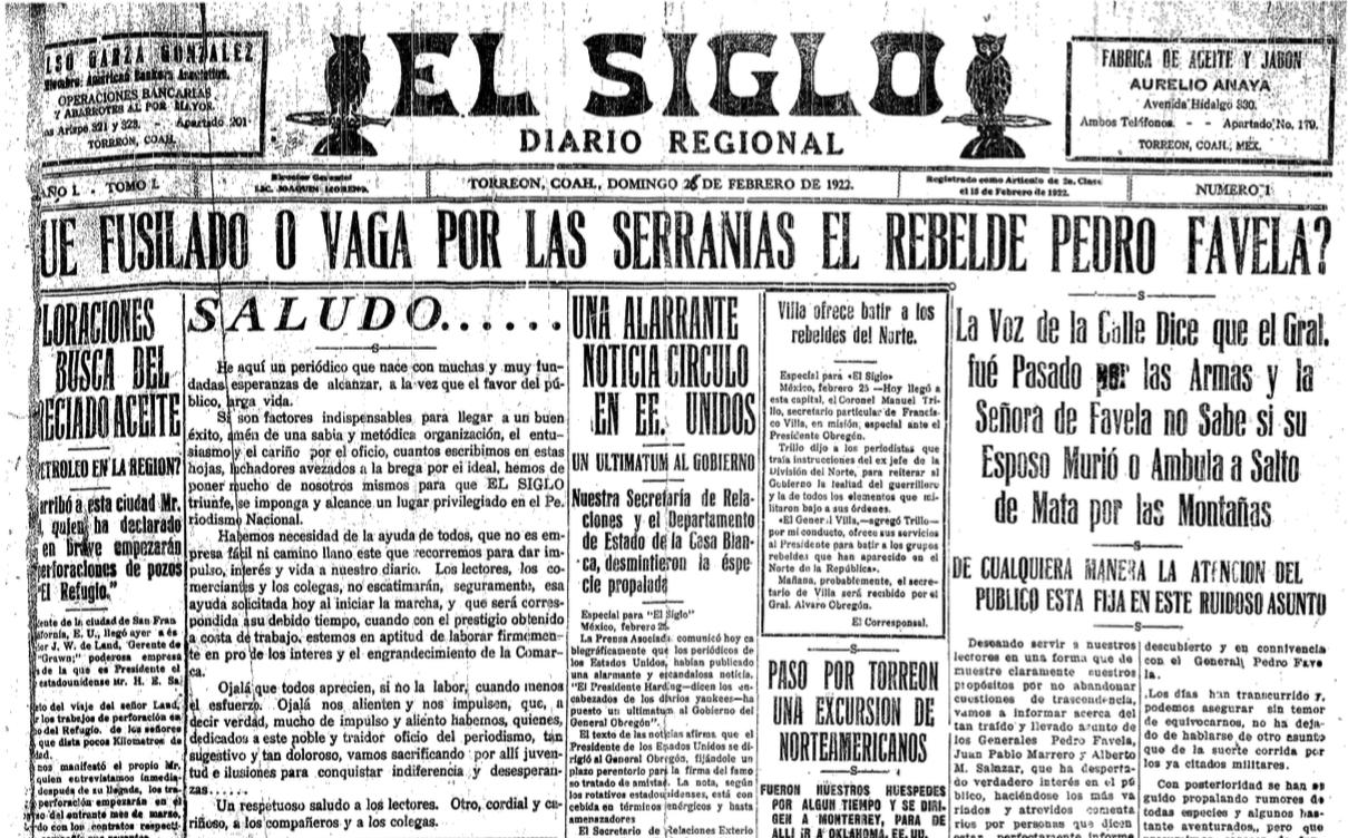 Primera edición de El Siglo
