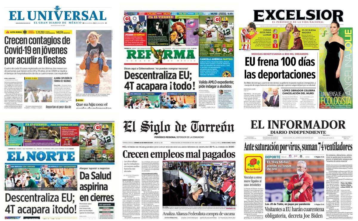 Portadas impresas de los periódicos más importantes de México, viernes 22 de enero de 2021